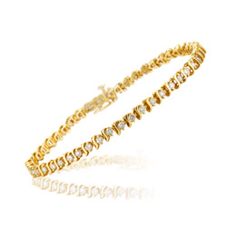 1.45-1.50 Cts  SI2 - I1 clarity and I-J color S-Link Diamond Bracelet in 14K Yellow Gold
