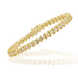 1.85-1.90 Cts  SI2 - I1 clarity and I-J color Diamond Bracelet in 14K Yellow Gold
