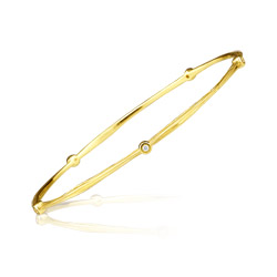 0.08 Cts Diamond Bangle in 14K Yellow Gold