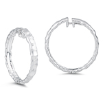 0.07-0.12 Cts  SI2 - I1 clarity and I-J color Diamond Hoop Earrings in 14K White Gold