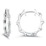 0.25-0.30 Cts  SI2 - I1 clarity and I-J color Diamond Hoop Earrings in 14K White Gold