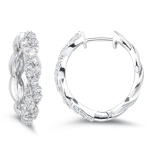 0.23-0.28 Cts  SI2 - I1 clarity and I-J color Diamond Hoop Earrings in 14K White Gold