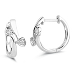 0.05 Ct Diamond Heart Huggie Earrings in 18K White Gold