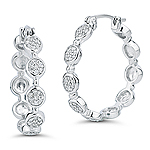 0.30-0.35 Cts  SI2 - I1 clarity and I-J color Diamond Hoop Earrings in 14K White Gold