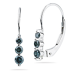 0.25 Cts Teal Blue Diamond Three Stone Earrings in 14K White Gold