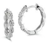 0.42-0.48 Cts  SI2 - I1 clarity and I-J color Diamond Hoop Earrings in 14K White Gold