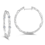 0.10-0.15 Cts  SI2 - I1 clarity and I-J color Diamond Hoop Earrings in 14K White Gold