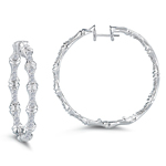 0.54 Ct Diamond Hoop Earrings in 14K White Gold