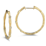 0.09 Ct Diamond Hoop Earrings in 14K Yellow Gold