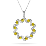 1.30-1.35 Ct Diamond & Yellow Diamond Circle Pendant in 14K White Gold