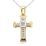 0.13 Cts Diamond Cross Pendant in 14K Two Tone Gold