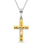 Crucifix Pendant in 14K Two Tone Gold