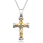 Crucifix Pendant in Diamond-cut 14K Two Tone Gold