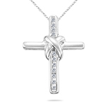 1/10 Cts Diamond Cross Pendant in 14K White Gold