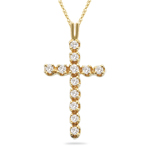 Diamond Cross Pendant in 14K Yellow Gold