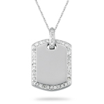 2/5 Cts Diamond Dog-Tag Pendant in 14K White Gold