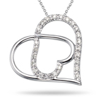 0.15-0.20 Cts  SI2 - I1 clarity and I-J color Diamond Heart Pendant in 14K White Gold
