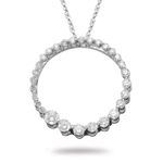 0.57 Cts Diamond Circle Journey Pendant in 14K White Gold