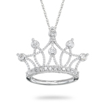 Diamond Crown Pendant - 0.21 Ct Diamond Pendant in 18K White Gold