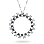 1.02 Cts Black & White Diamond Circle Pendant in 14K White Gold