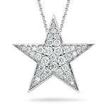 Diamond Star Pendant - 0.70 Ct Diamond Star Pendant in 18K White Gold