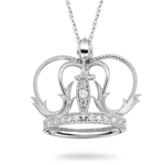 0.16 Ct Diamond Crown Pendant in 18K White Gold