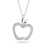 0.35 Cts Diamond Apple Pendant in 14K White Gold
