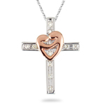 0.09 Ct Diamond Cross & Heart Pendant in 14K White & Pink Gold