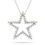 1.09 Cts Diamond Star Pendant in 14K White Gold