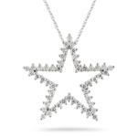 1.09 Cts Diamond Star Pendant in 14K White Gold