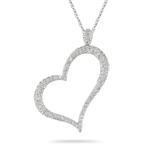 0.45-0.50 Cts  SI2 - I1 clarity and I-J color Diamond Pave Heart Pendant in 14K White Gold