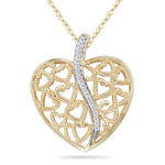 0.08-0.13 Cts  SI2 - I1 clarity and I-J color Diamond Heart-in-Heart Pendant in 14K Yellow Gold