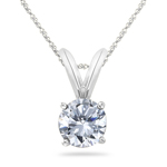 1/2 Cts Round Diamond Solitaire Pendant in Platinum