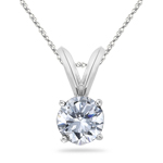 1/2 Cts Round Diamond Solitaire Pendant in 18K White Gold