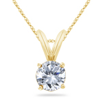 1/4 Cts Round Diamond Solitaire Pendant in 18K Yellow Gold