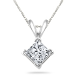 1/2 Cts Princess Diamond Solitaire Pendant in Platinum