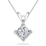 1/3 Cts Princess Diamond Solitaire Pendant in 18K White Gold