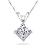 1.00 Ct Princess Diamond Solitaire Pendant in 18K White Gold