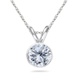 1.00 Ct Diamond Solitaire Pendant in 18K White Gold