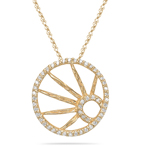 0.20-0.25 Cts  SI2 - I1 clarity and I-J color Diamond Circle Pendant in 14K Yellow Gold