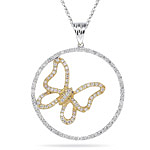 0.25-0.30 Cts  SI2 - I1 clarity and I-J color Diamond Circle Two Tone Pendant in 18K Gold