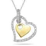 0.16-0.21 Cts  SI2 - I1 clarity and I-J color Diamond Two Tone Heart Pendant in 18K Gold