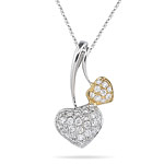 0.30-0.35 Cts  SI2 - I1 clarity and I-J color Diamond Two Tone Heart Pendant in 18K Gold