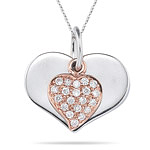 0.20 Cts Diamond Heart-in-Heart Pendant in 18K Two Tone Gold