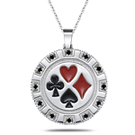 0.24 Cts Black Diamond Poker Pendant in 14K White Gold