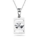 0.05-0.08 Cts  SI2 - I1 clarity and I-J color Diamond Solitaire Pendant in 18K White Gold