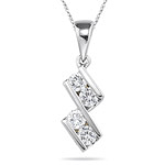 0.35-0.40 Cts  SI2 - I1 clarity and I-J color Diamond Pendant in 18K White Gold