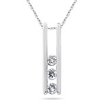0.16-0.22 Cts  SI2 - I1 clarity and I-J color Diamond Three Stone Pendant in 18K White Gold