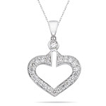 0.20-0.25 Cts  SI2 - I1 clarity and I-J color Diamond Heart Pendant in 18K White Gold