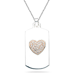 0.20-0.24 Cts  SI2 - I1 clarity and I-J color Diamond Heart Pendant in Pink Gold & Silver